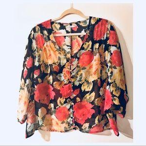 Black/Floral Button Up Blouse